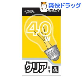 OHM クリア電球 40W LC100V40W55/1P(1コ入)