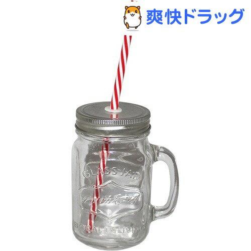 ガラス製 ドリンクジャー ストロー付き シルバー 704753(1コ入)[メイソンジャー ストロー ビールジョッキ]