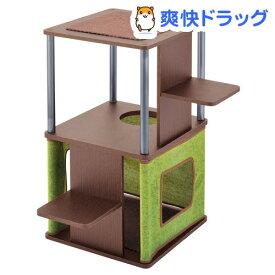 ネココ コーナーや壁ぎわに置きやすい キャットリビングタワー ロータイプ(1コ入)【necoco(ネココ)】