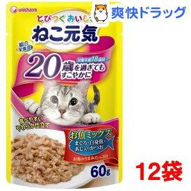 ねこ元気 総合栄養食 パウチ 20歳を過ぎてもすこやかに お魚ミックス(60g*12袋)【ねこ元気】