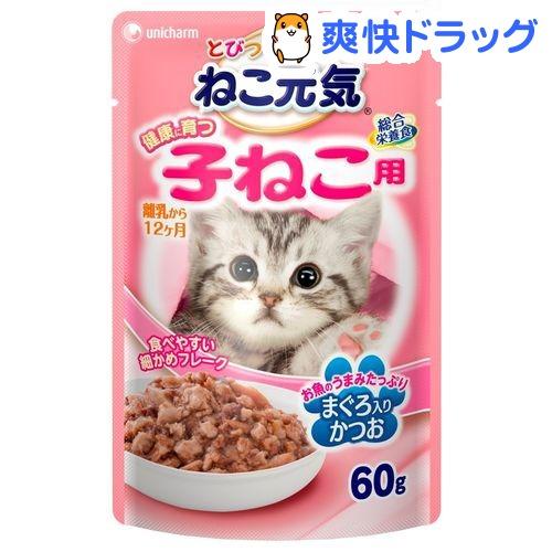 ねこ元気 総合栄養食 パウチ 健康に育つ子猫用(離乳から12ヶ月) まぐろ入りかつお(60g)【ねこ元気】