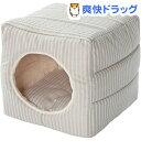 PuChiko 2ウェイキューブハウス ストライプ アイボリー/ホワイト(1コ入)【PuChiko】[犬 猫 ペットベッド もぐる 2way あったか 冬用]【...
