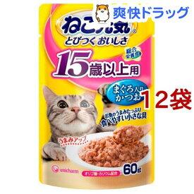 ねこ元気 総合栄養食 パウチ 15歳以上用 まぐろ入りかつお(60g*12袋)【ねこ元気】[キャットフード]
