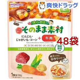 和光堂 1食分の野菜入り そのまま素材+牛肉 12か月頃〜(100g*48袋セット)【1食分の野菜入り そのまま素材】