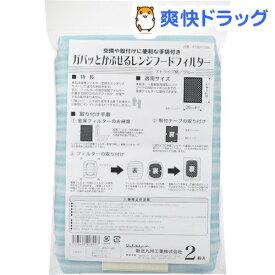かぶせるレンジフードフィルター 2枚+手袋付 ストライプ柄 ブルー(1セット)
