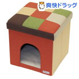 ペティオ necoco キャットハウス&スツール オレンジモザイク レギュラー(1コ入)【ペティオ(Petio)】