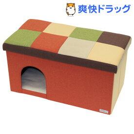 ペティオ necoco キャットハウス&スツール オレンジモザイク ワイド(1コ入)【ペティオ(Petio)】