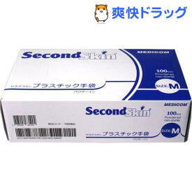 【訳あり】セコンドスキン プラスチック手袋(Mサイズ*100枚入)