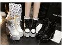 ショートブーツ 厚底ブーツ レディース 太ヒール15cm 英国風ブーツ レースアップ 革靴 黒 白 黒白配合