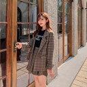 セットアップ ジャケットスカート レディース グレンチェック ジャケット スカート ショート丈 お出かけ 卒業式 グレ…