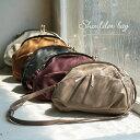 バッグ ころんとクラシカルなデザインで、上品&レトロに。がま口ポケットショルダーバッグレディース/鞄/ミニショル…