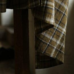 30年越しのイチョウまみれ。イチョウにまみれる、チェックの羽織りM/L/LL/3Lサイズレディース/ガウン/カーディガン/ワンピース/コットンリネン/綿麻/長袖/ロング丈