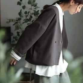 スソダスジャケット 裾のはみ出しを楽しむ 四角いジャケット M/L/LL/3L/4Lサイズ レディース/トップス/ライトアウター/コート/羽織り/カーディガン/ウール混/毛混/ショート/長袖