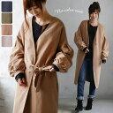 コート M/Lサイズ シックな大人のシルエットに、ほの甘い袖で差をつけて。ピーチスキン風ボリューム袖ロングコートレディース/羽織り/ライトアウター/長袖/ノーカラー