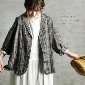 ハンサムだけど人懐っこいチェック柄のジャケット M/L/LL/3L/4Lサイズ レディース/羽織り/ショート丈/長袖/セットアップ/リネン混/麻混※こちらはジャケットのみの販売です※