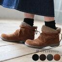ブーツ S/M/L/LLサイズ ボア&後ろリボンでさりげなく甘い足もとに。はきぐちボアスウェード調ショートブーツレディース/シューズ/靴/ローヒール/2WAY/...