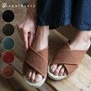 サンダル S/M/L/LLサイズ 太めストラップで人気の1足に、新柄が増えてリニューアル。クロスジュートサンダルレディース/靴/シューズ/フェイクスウェード/ス...