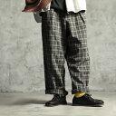 【6月限定販売】革靴に合わせたい!哀愁チェックパンツ M/L/LL/3L/4Lサイズ レディース/テーパードパンツ/サルエル/コットンリネン/綿麻/ゆったり/柄物/ボトムス