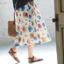 夏の あの『ときめき』を想いだして。秘めたノスタルジー 花柄スカートスカート M/L/LL/3Lサイズ レディース/フラワー/膝下/ロング/ミディアム丈/タック/ギャザー/ボトムス