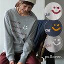 プルオーバー M/Lサイズ 秋冬らしい遊び心をそえたロゴを、主役に。さがら刺繍スマイルロゴプルオーバーレディース/長…