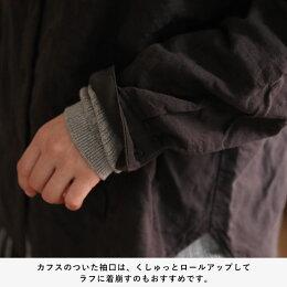 襟を無くして、叶ったコト。着こなし自在なノーカラーシャツシャツS/M/L/LL/3L/4Lサイズレディース/ブラウス/羽織り/長袖/コットン/綿/ダブルガーゼ/Wガーゼ/トップス