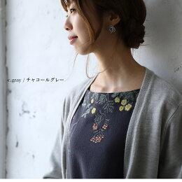 ワンピースM/L/LL/3Lサイズ素朴な草花で飾って、ナチュラルな華やぎを。草花刺繍ワンピースレディース/チュニック/長袖soulberryオリジナル
