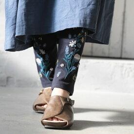 時には、足もとにときめきを。裾に野花を咲かせた刺繍レギンスレギンス M/L/LL/3Lサイズレディース/スパッツ/10分丈/十分丈/ボトムス【返品・交換不可】