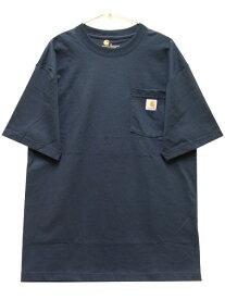 カーハート CARHARTT ポケット半袖Tシャツ WORKWEAR POCKET S/S TEE メンズ レディース USA企画 ベーシック ワーク カジュアル アメカジ ロゴ 無地 ネイビー 紺 S M L XL