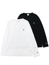 CHAMPION チャンピオン Tシャツ 長袖Tシャツ ロンT BASIC L/S TEE メンズ ストリート スポーツ ベーシック ロゴ刺繍 C3-P401 ブラック ホワイト 黒 白 M L XL XXL