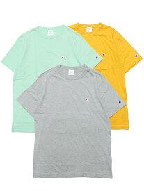 CHAMPION チャンピオン Tシャツ 半袖Tシャツ BASIC S/S TEE メンズ ストリート スポーツ ベーシック ワンポイント ロゴ刺繍 C3-P300 イエロー ミント グレー M L XL