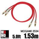 モガミ【 MOGAMI 2534 】(赤)RCA オーディオケーブル 5.0ft (1.53m)【赤白ペア】