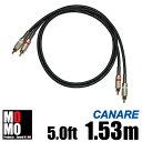 ■カナレ【 CANARE L4E6S 】(黒)RCA オーディオケーブル 5.0ft (1.53m)【赤白ペア】
