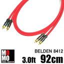 ■ベルデン【 BELDEN 8412 】赤 RCAオーディオケーブル3.0ft (92cm)【赤青ペア】
