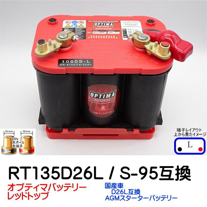 オプティマバッテリー【OPTIMA】レッドトップ RT-120D26L / S-95 互換セット【Lタイプ 端子DIN】