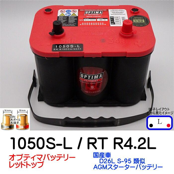 オプティマバッテリー【OPTIMA】レッドトップ 1050S-L / RT R-4.2L / 8003-251【Lタイプ 端子DIN】