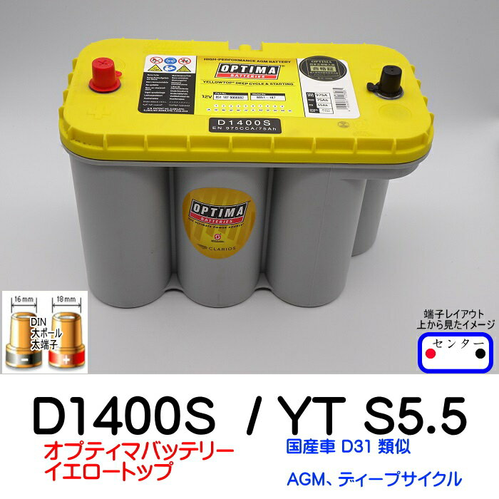 オプティマバッテリー【OPTIMA】イエロートップ D1400S / YT S5.5L / 8051-187【端子DIN】