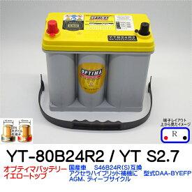 オプティマバッテリー【OPTIMA】イエロートップ YT-80B24R2(YT-80B24RS) / YT S-2.7 / 8071-176【Rタイプ DIN端子】 アクセラ ハイブリッド補機 オプティマ バッテリー カーバッテリー ドライバッテリー B24R
