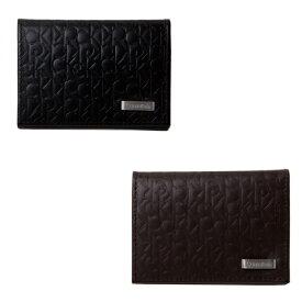 カルバン・クライン 名刺入れ メンズ Calvin Klein 牛革 ブランドロゴ 型押し 二つ折り カードケース 74286 BOX付