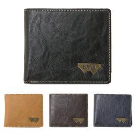 エドウィン 財布 EDWIN グレイン合皮 Wメタル 小銭入れ付き メンズ 二つ折り財布 12289938