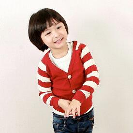 韓国子供服【wittyboy】 (ウィッティーボーイ カーディガン) ボーダー切り替えスリーブ 紺・赤各色【あす楽対応】【ラッピング不可】