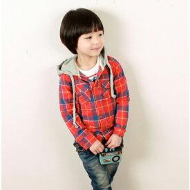 韓国子供服【wittyboy】 (ウィッティーボーイ パーカー) チェックシャツ×フードパーカー【あす楽対応】【ラッピング不可】
