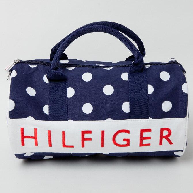 【TOMMY HILFIGER トミーフィルフィガー】ミニボストンバッグ ネイビー×ホワイト水玉 HFロゴ ダッフルバッグ w86933675