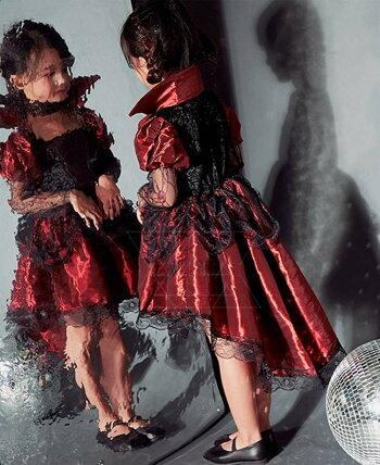 短納期送料無料ハロウィン衣装子供女の子コスプレ魔女吸血鬼バンパイアウィッチデビルゴシック系キッズコスチューム変装仮装服ドレスセットアップハロウィーンパーティーグッズステージイベント用品可愛い子ども用女児