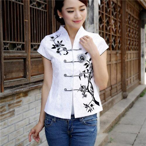 メール便送料無料 チャイナ風 トップス チャイナ服 半袖 大きいサイズ チャイナボタン 刺繍 レディース 上着