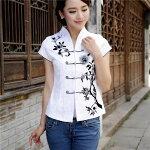 チャイナ風トップスチャイナ服半袖大きいサイズチャイナボタン刺繍エレガントレディース上着