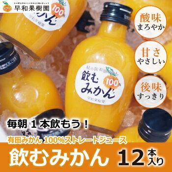 飲むみかん 200ml×12本入り 送料無料 みかんジュース 無添加 ストレート 果汁100% 和歌山 温州みかん