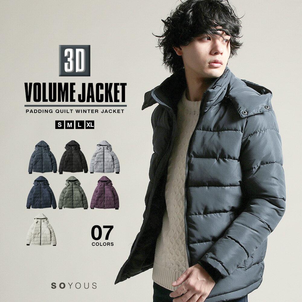 3D ボリューム キルティング 脱着可能 フード 中綿 ジャケット アウター メンズ ブルゾン 冬服 防寒 コート・ジャケット アウター メンズファッション