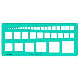 takeda テンプレート 四角定規 辺1〜36mm (板寸法)114×233×1.0mm インクエッジ付き 【29-0184】( 製図 製図用品 製図用定規 建築 図面 製図テンプレート 定規 使いやすい 見やすい たけだ TAKEDA タケダ デザイン インクエッジ )