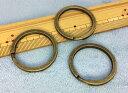 ●◎金具 平二重リング キーホルダー 直径(外径)35mm 加厚 線幅3.1mm 10個入り アンティークゴールド(真鍮古美…