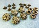 ● 飾りバネホック G 花 頭径17mm 5組入り アンティークゴールド(真鍮古美)
